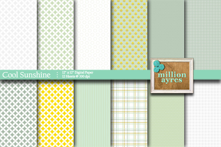 Free Printable Digital Scrapbook Paper: Cool Sunshine
