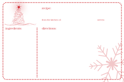 Friday Free Printable:christmas recipe card